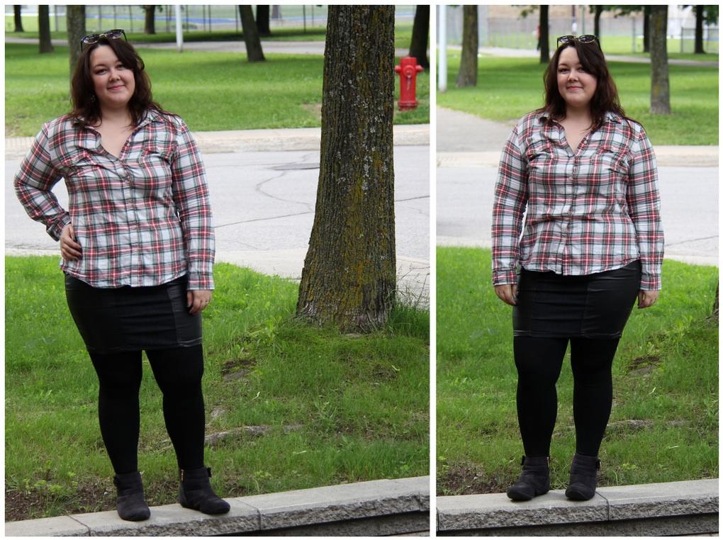 9b4173640f Outfit  Camisa xadrez de flanela e saia de couro
